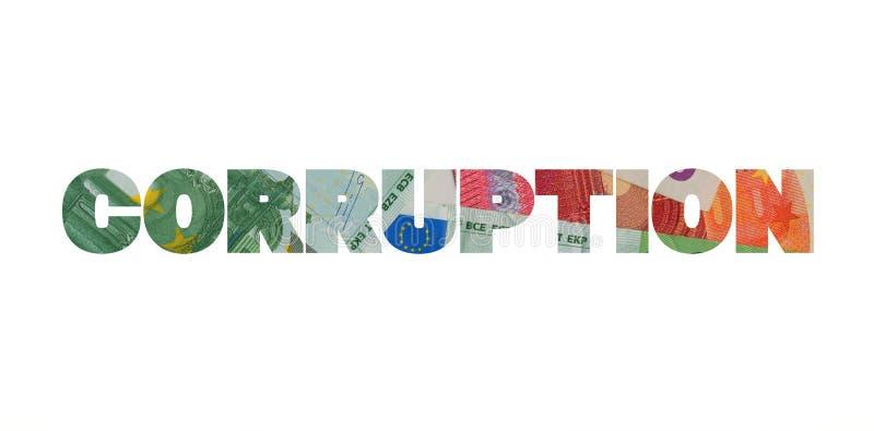 腐败和欧元 库存照片