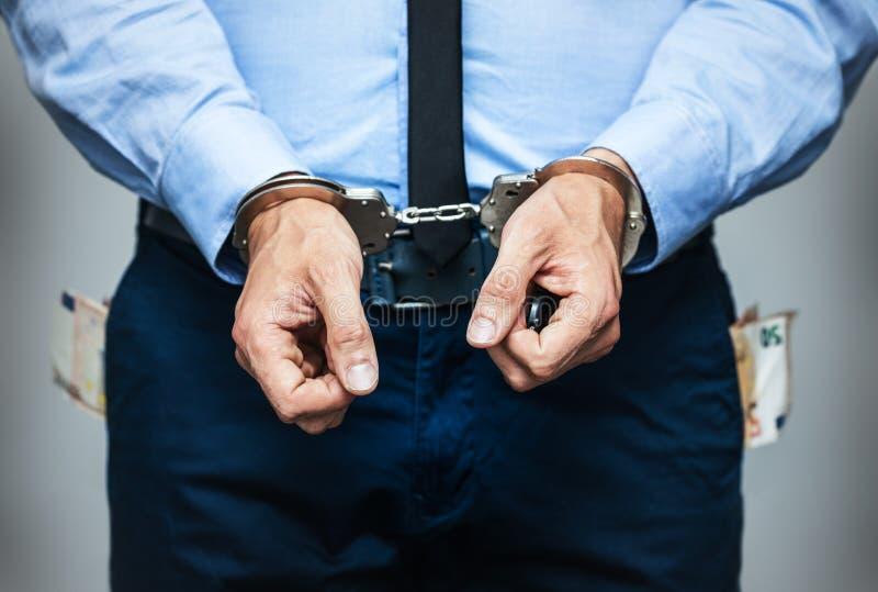 腐败的被拘捕的政府官员 免版税库存图片