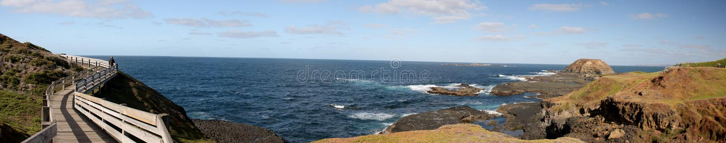腓力普海岛企鹅游行的自然公园全景  免版税库存图片