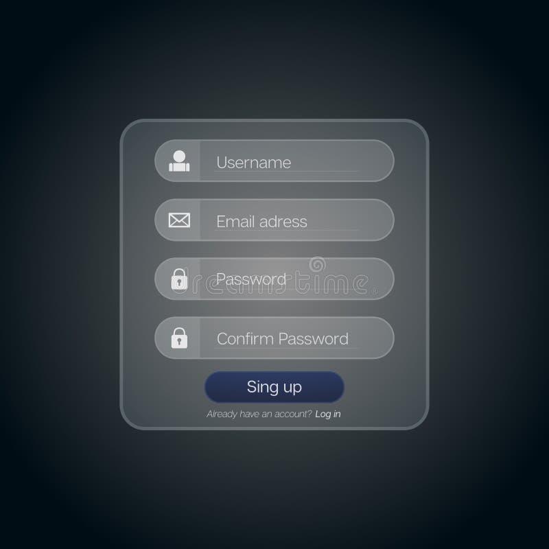 腹杆注册银幕框架 现代UI光滑的模板  皇族释放例证