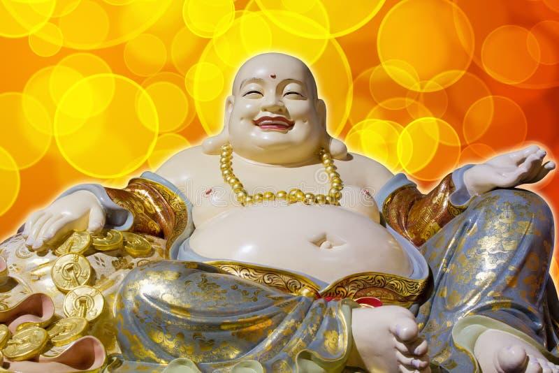 腹部大菩萨愉快的笑的maitreya雕象 免版税库存照片
