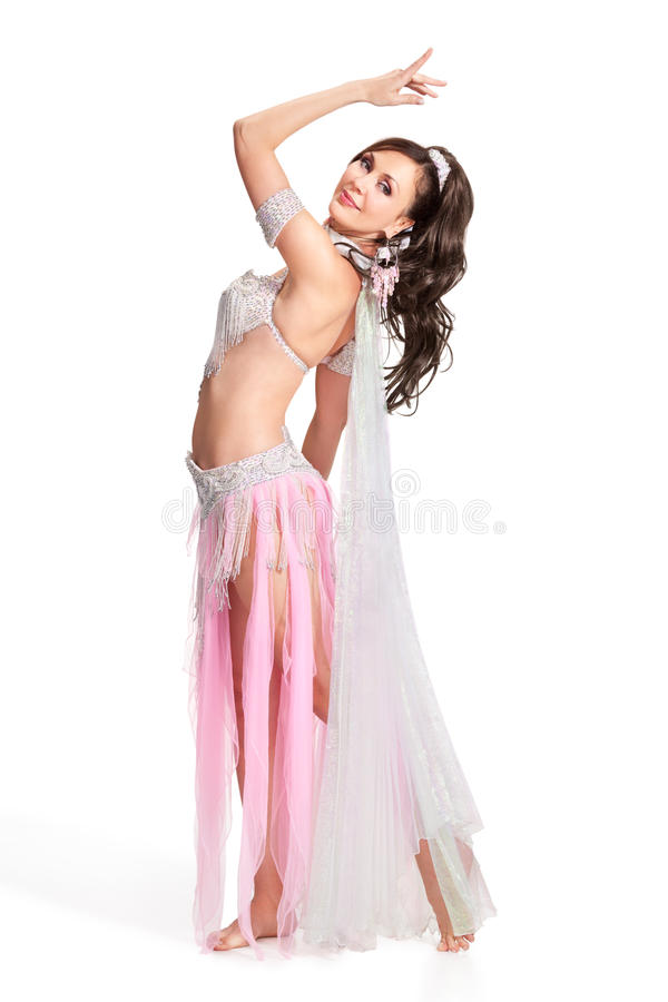 腹部服装舞蹈演员佩带的白色 库存照片