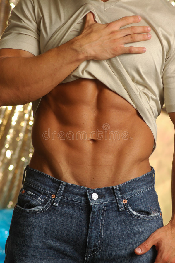 腹部男性肌肉剥离 库存照片