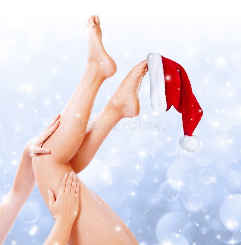 腿圣诞节的秀丽治疗 库存图片