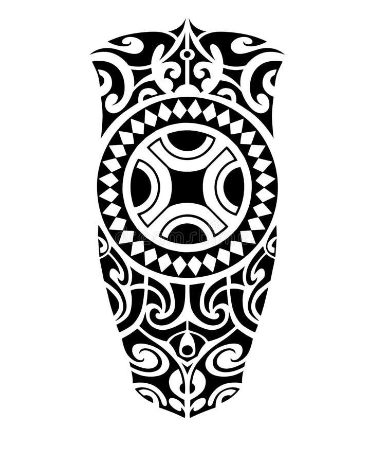 腿或肩膀的纹身花刺剪影毛利人样式 皇族释放例证
