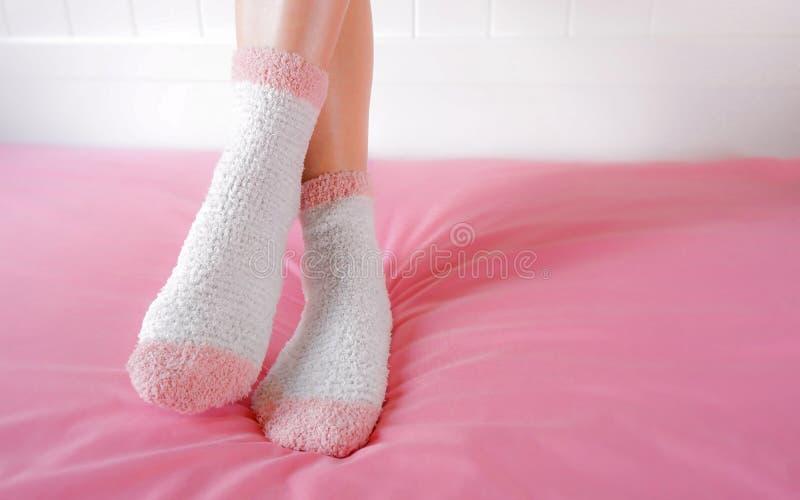 腿美女穿在卧室的温暖的袜子 时尚桃红色在舒适背景中殴打 库存图片