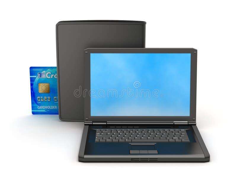 膝上型计算机、信用卡和黑钱包 库存图片