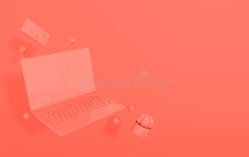 膝上型计算机、智能手机和另外几何对象大模型背景在现代最小的样式 笔记本,仙人掌3d回报  向量例证