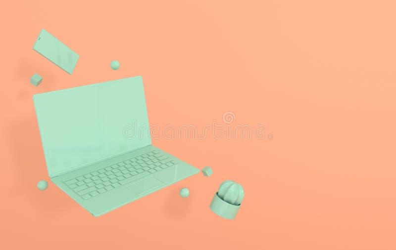 膝上型计算机、智能手机和另外几何对象大模型背景在现代最小的样式 笔记本,仙人掌3d回报  皇族释放例证