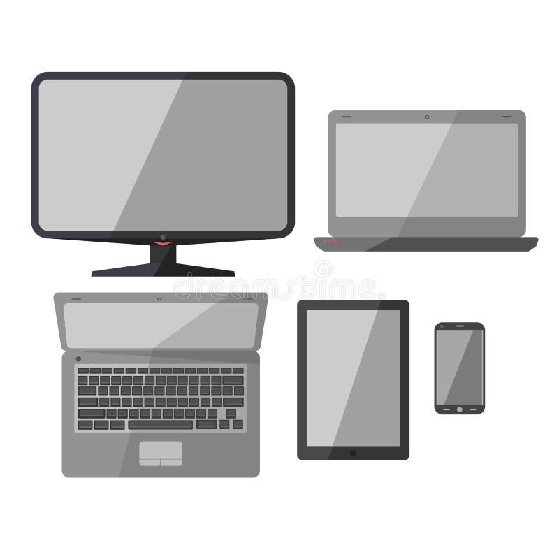 膝上型计算机、智能手机和笔记本传染媒介象 库存例证