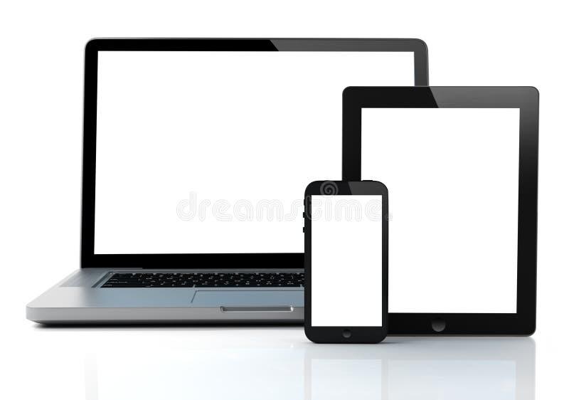 膝上型计算机、片剂和智能手机 库存例证
