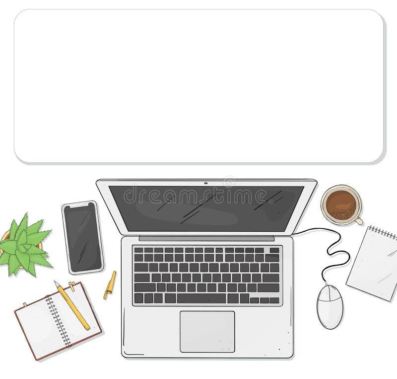 膝上型计算机、电话、咖啡,一个笔记本和一朵花在您的桌面上顶视图 在剪影样式的传染媒介例证 库存例证