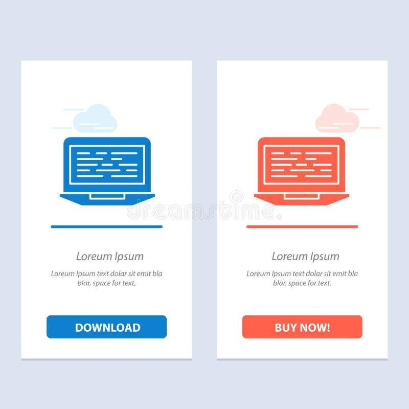 膝上型计算机、编制程序、代码、屏幕、计算机蓝色和红色下载和现在买网装饰物卡片模板 向量例证