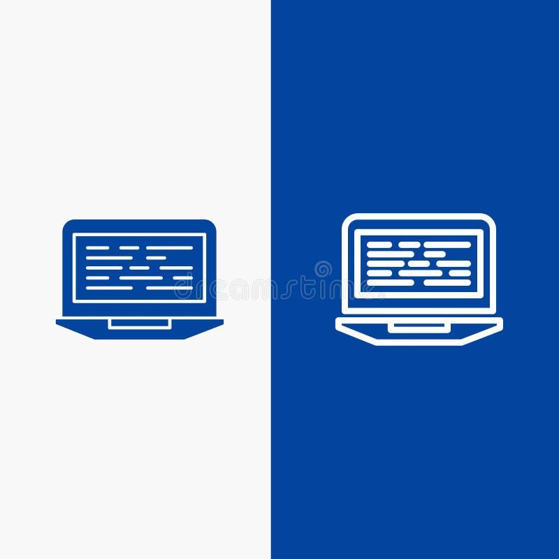 膝上型计算机、编制程序、代码、屏幕、计算机连线和纵的沟纹坚实象蓝色旗和纵的沟纹坚实象蓝色横幅 向量例证