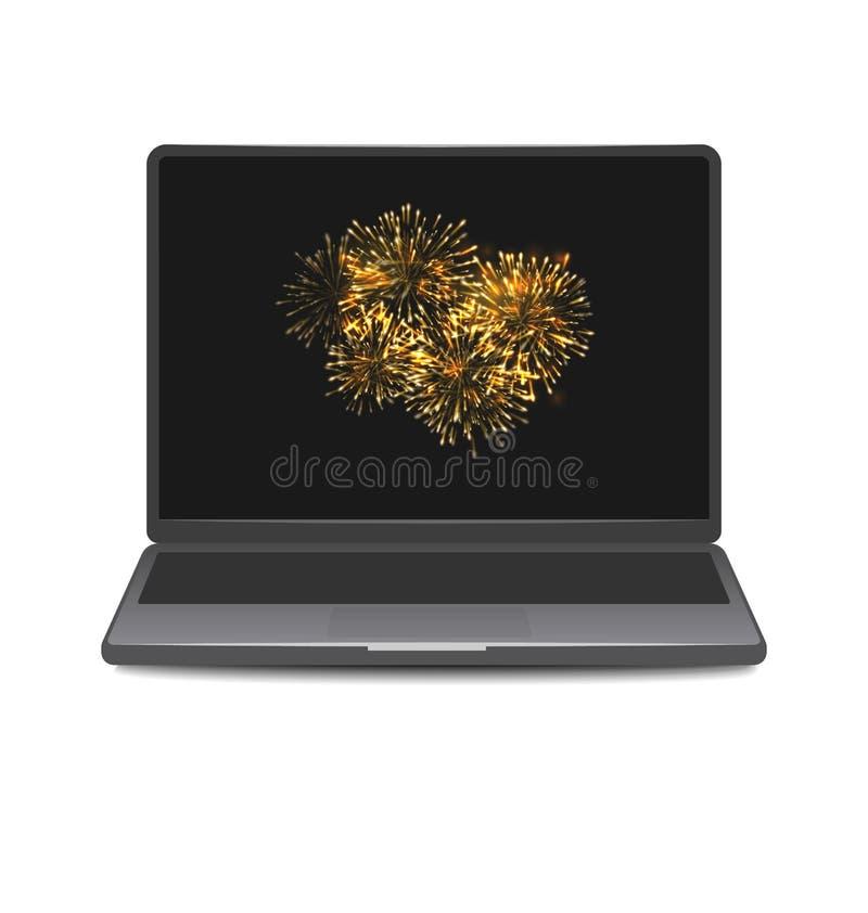 膝上型计算机与烟花的屏幕显示 向量例证
