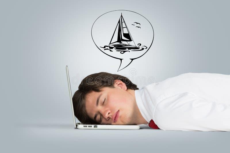 膝上型计算机人休眠 免版税图库摄影