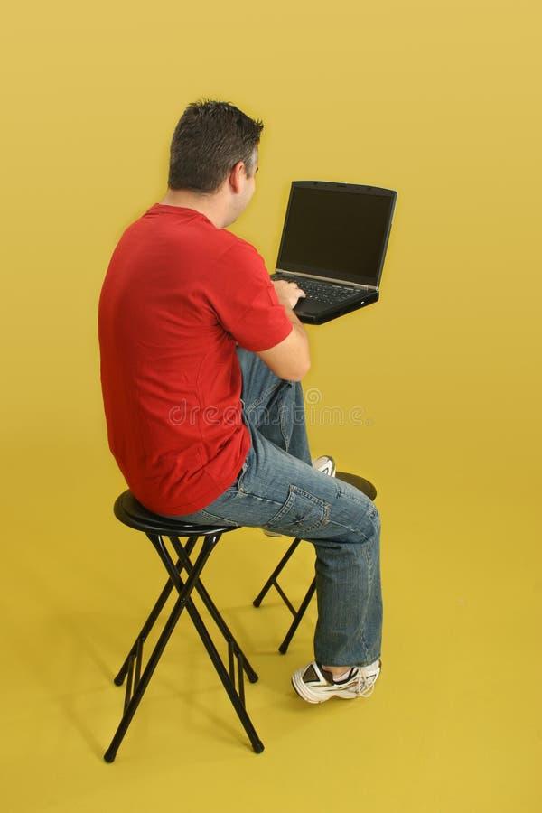 膝上型计算机人 免版税库存照片