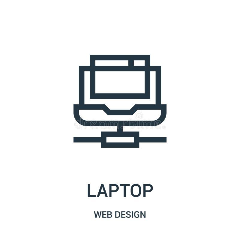 膝上型计算机从网络设计汇集的象传染媒介 稀薄的线膝上型计算机概述象传染媒介例证 库存例证