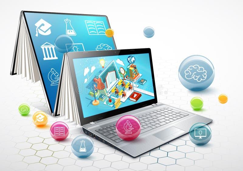 膝上型计算机作为书 苹果背景书概念仔细查出了解开放白色 在线教育 向量 向量例证