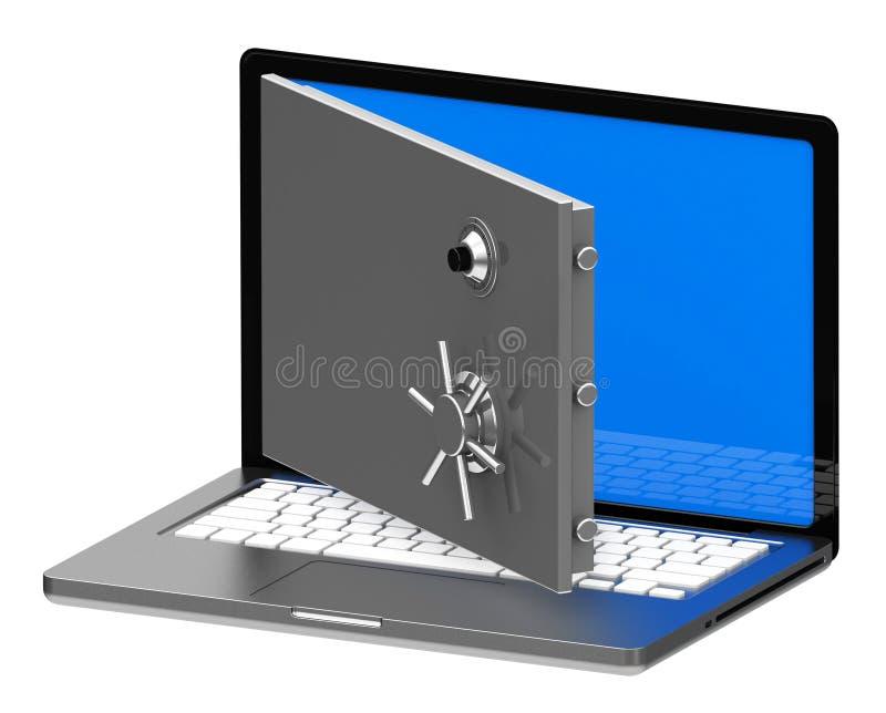 膝上型计算机保险柜 皇族释放例证