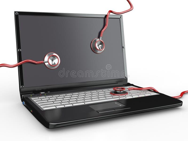 膝上型计算机修理公司听诊器 皇族释放例证