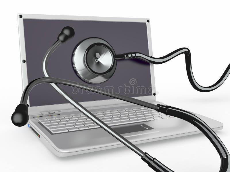 膝上型计算机修理公司听诊器 库存例证