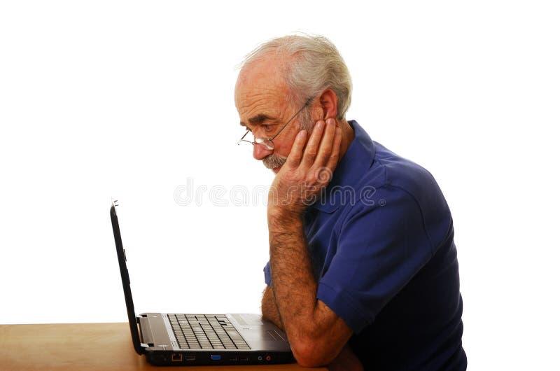 膝上型计算机前辈使用 免版税库存照片