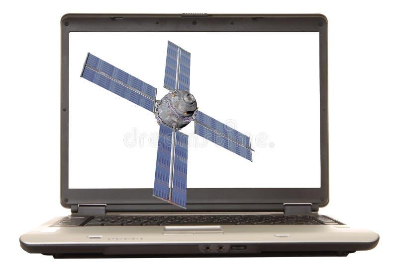 膝上型计算机卫星 库存例证