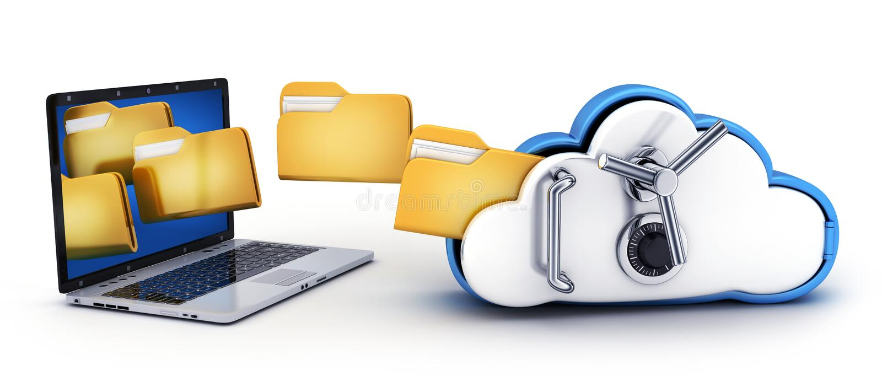 膝上型计算机和云彩安全 库存例证