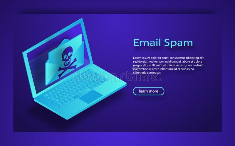 膝上型计算机和信封与骷髅图 电子邮件垃圾短信,乱砍,互联网病毒概念 向量例证