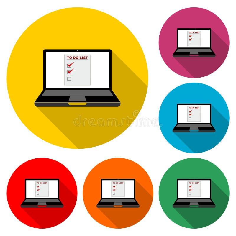 膝上型计算机和做名单,做在膝上型计算机屏幕象或商标的名单,与长的阴影的彩色组 库存例证