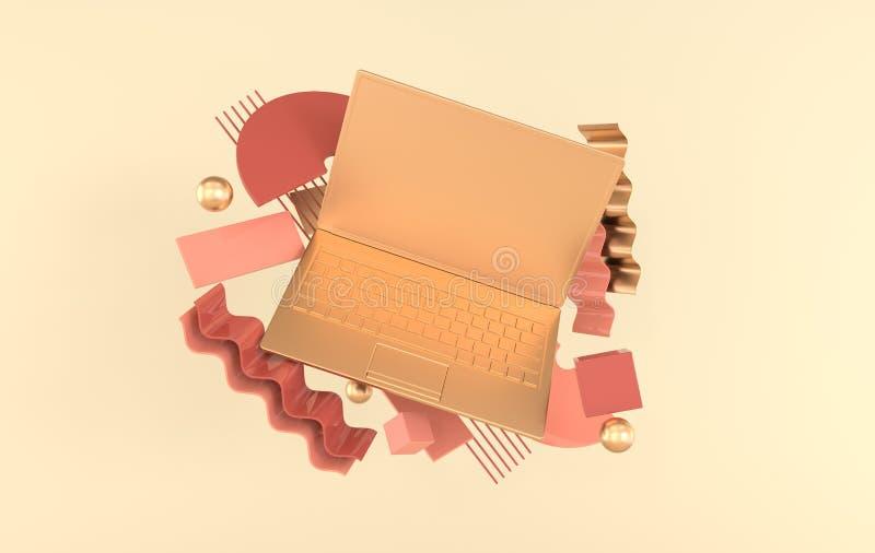 膝上型计算机和另外几何对象大模型背景在现代最小的样式 笔记本3d在淡色回报 ?? 库存例证