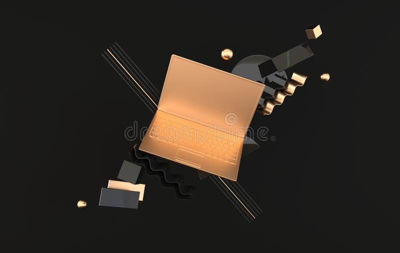 膝上型计算机和另外几何对象大模型背景在现代最小的样式 笔记本3d在黑和金黄颜色回报 皇族释放例证