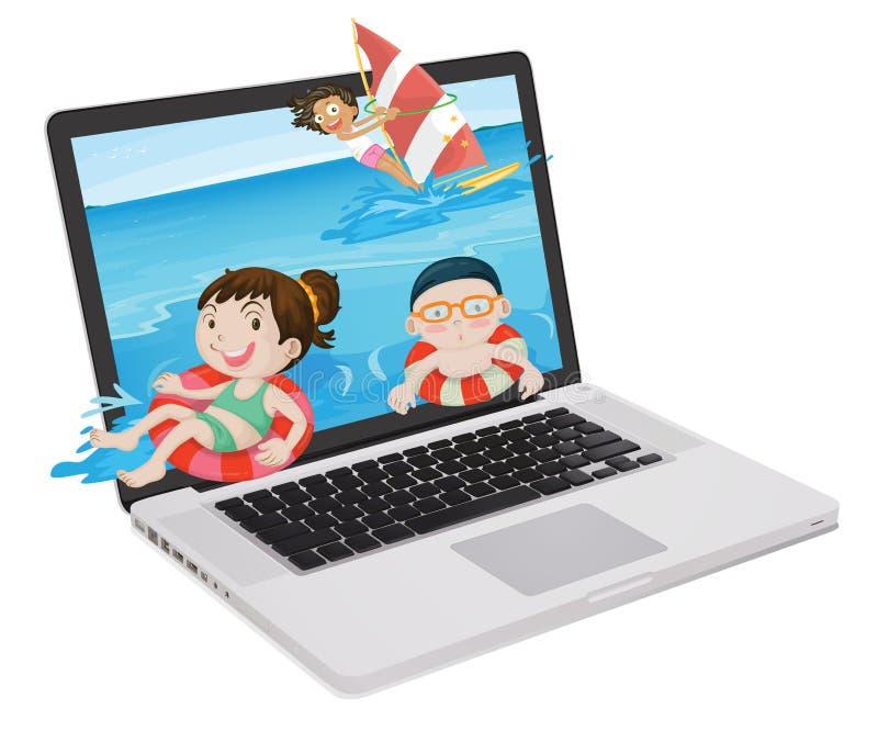 膝上型计算机和孩子 库存例证