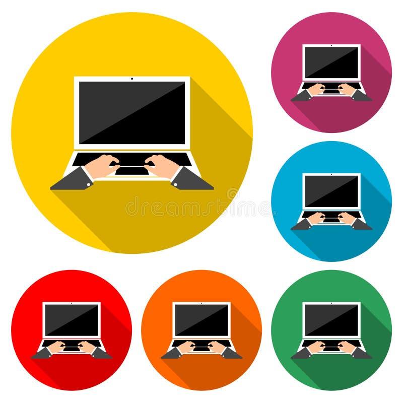 膝上型计算机和手在键盘象或商标,彩色组与长的阴影 皇族释放例证
