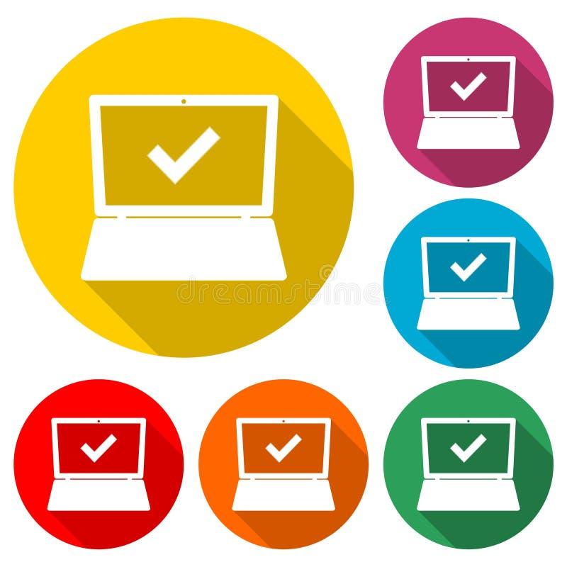 膝上型计算机和校验标志象或者商标,与长的阴影的彩色组 向量例证