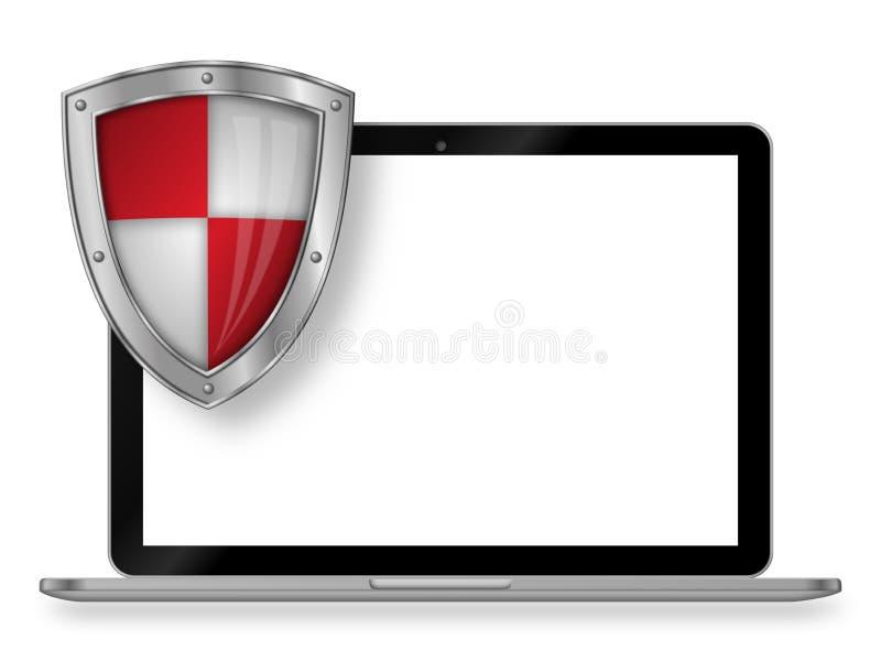 膝上型计算机和盾有白色背景和空的显示 库存照片