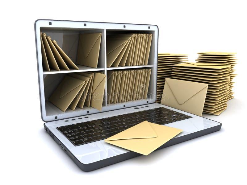 膝上型计算机和许多邮寄 库存例证