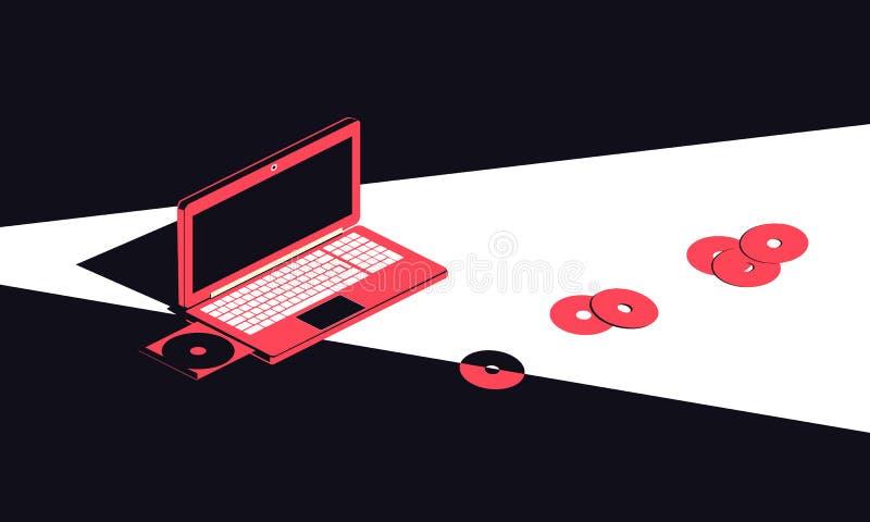 膝上型计算机和CDs 等量在未来派样式 r 皇族释放例证