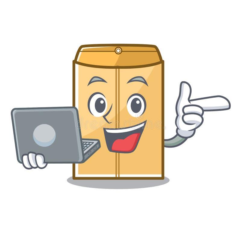 膝上型计算机在字符形状的邮件信封 向量例证