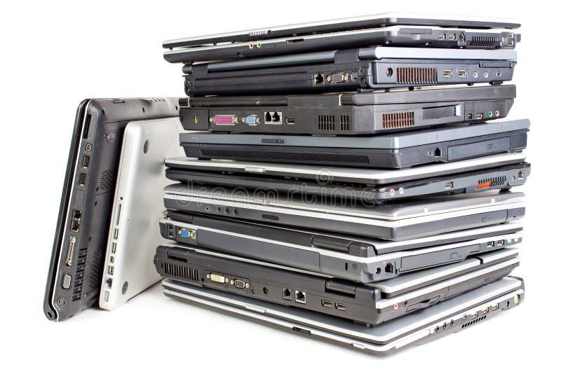 膝上型计算机堆 免版税库存图片