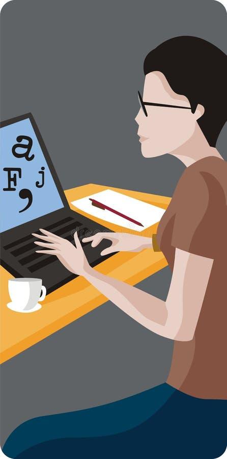 膝上型计算机妇女 向量例证