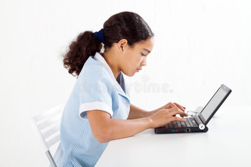膝上型计算机学员使用 免版税库存照片