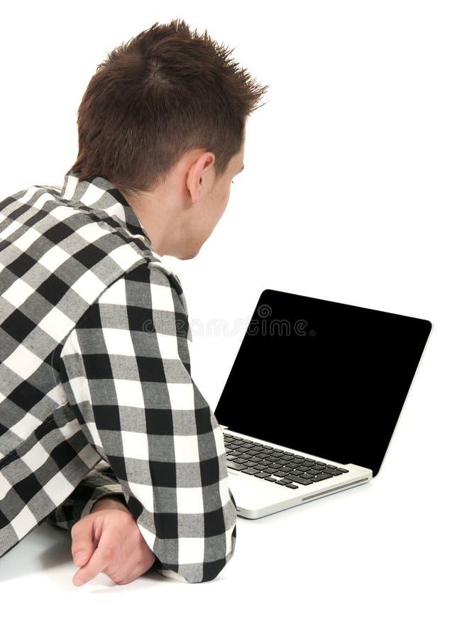 膝上型计算机少年 免版税图库摄影