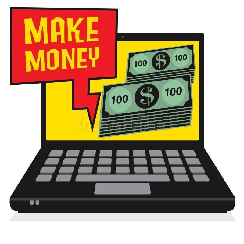 膝上型计算机或笔记本电脑挣金钱 库存例证