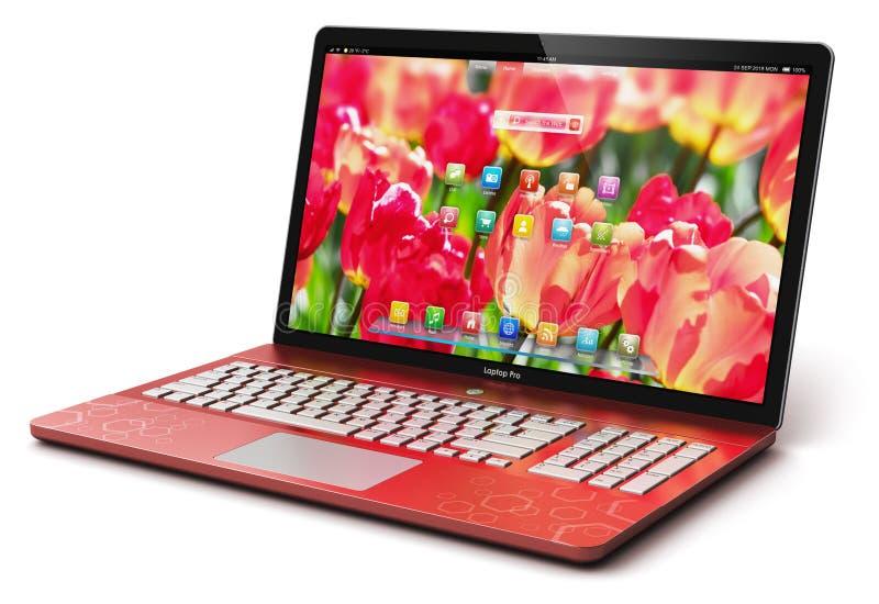 膝上型计算机或笔记本计算机个人计算机 库存例证