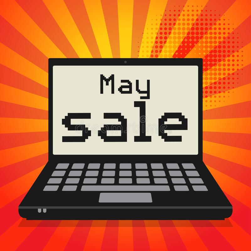 膝上型计算机或笔记本计算机,与文本5月销售的企业概念 皇族释放例证