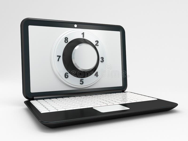 膝上型计算机或计算机安全概念 皇族释放例证