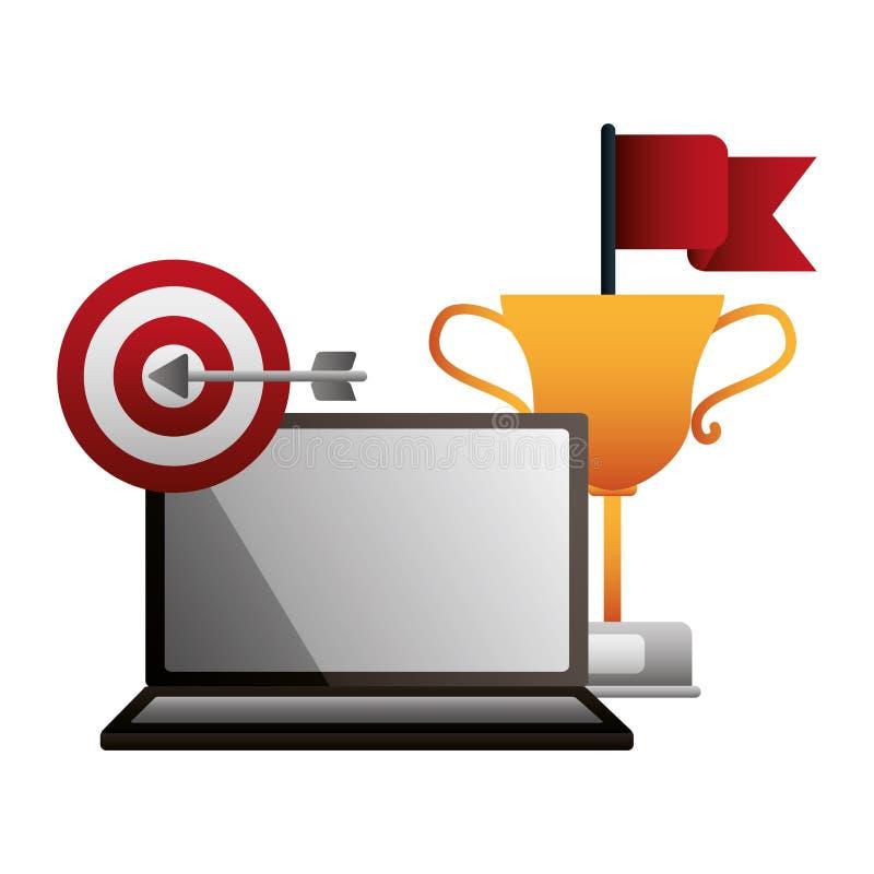 膝上型计算机战利品目标和红旗成功 库存例证