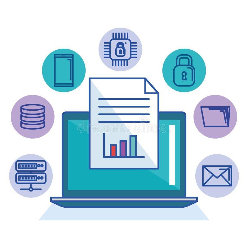 膝上型计算机技术文件文件存贮互联网安全系统 皇族释放例证